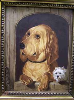 Pair of Antique Folk Art Painting of Hunting Dogs