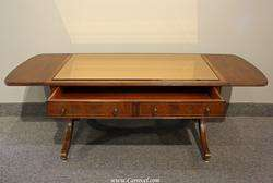 Antique Regency Glass Top Drop Leaf Coffee Table