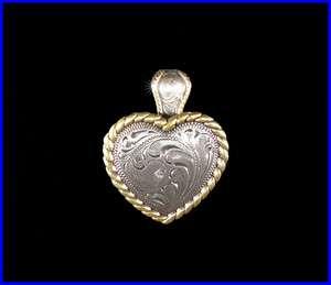 Western Decor Cowgirl Gold Border Heart Concho Pendant
