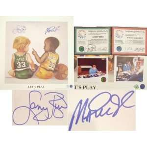 Larry Bird and Magic Johnson Autographed   Lets Play