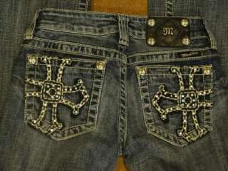 VERY SEXY MISS ME RHINESTONE CROSS STUDS BLUE DENIM JEANS SIZE 25