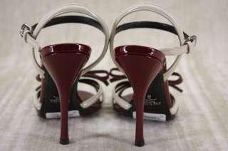 NIB Prada Bi Color Burgundy beige Patent Bow Sandals Heels 36.5 6.5