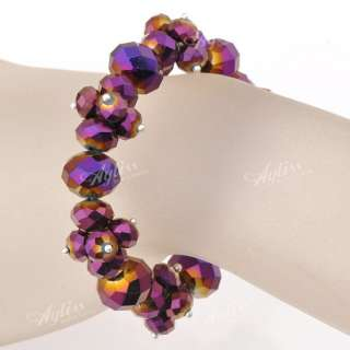 Crystal Glass Faceted Bead Ball Womens Charm Bracelet Bangle
