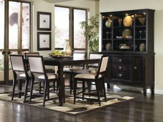 CONTEMPORARY SQUARE COUNTER HEIGHT DINING ROOM TABLE CHAIRS PUB SET