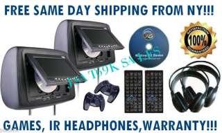 NEW BLACK PAIR 7 LCD HEADREST DVD PLAYER MONITORS USB