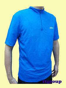 Breathable Light Short Sleeve Cycling Jersey Half zip Shirt, Blue