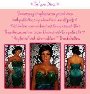 Peacock Emerald Green Satin Feather Jewel Tube Pencil Dress