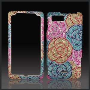 Pink Blue Gold Roses Cristalina crystal bling case cover
