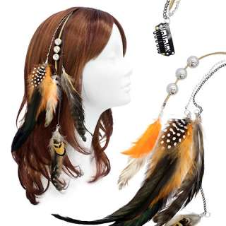 Feather Beaded Hair Extension Mini Hair Clip Comb Leather Cord Orange