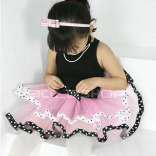 Girls Black Pink Ballet Dance Costume Tutu Dress SZ 2 8