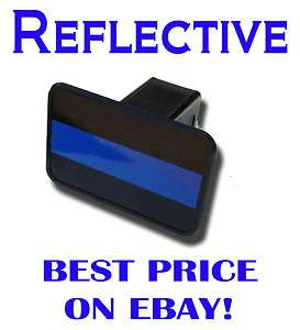 Police Thin Blue Line Hitch Cover   Reflective   PLUS FREE BONUS DECAL