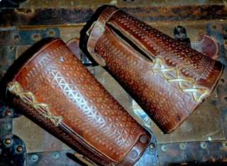 Antique COWBOY Western HAND TOOLED LEATHER CUFFS wrist guards OLD WEST