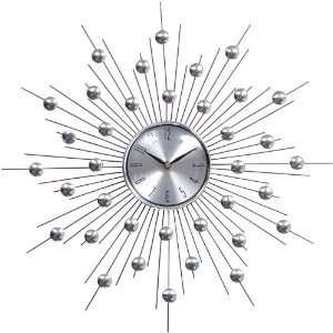 Modern Silver Starburst Wall Clock Retro Modern