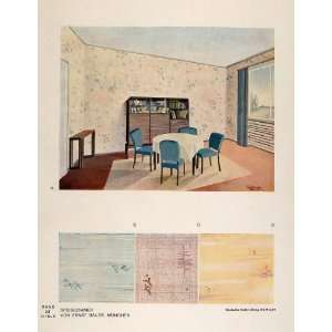 1933 Art Deco Dining Room Table Chairs Cabinet Print   Original Color