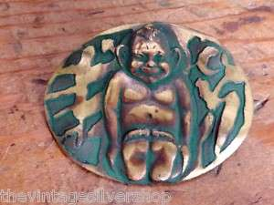 ARTS & CRAFTS 1908 ACID ETCHED BILLIKEN PIN ORIG CARD