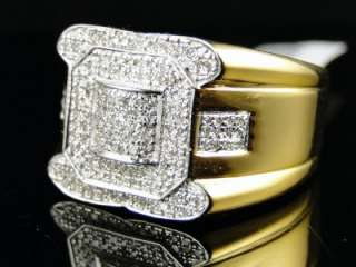 MENS YELLOW GOLD FINISH PINKY SI BIG FACE DIAMOND RING