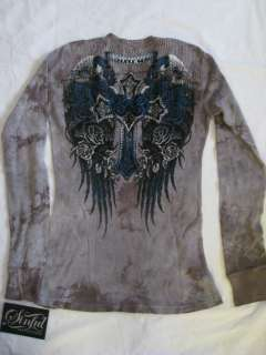 NWT Sinful by Affliction Womens Silver Cloud Thermal Shirt Tee S M L