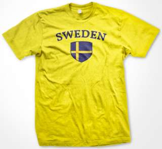 Sweden Swedish Flag Crest Tees Womens Ladies T Shirt