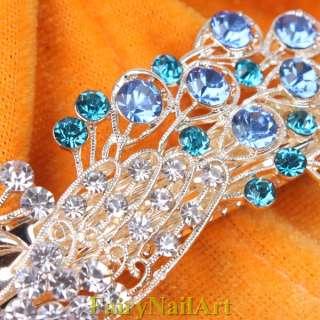 Peacock Ladies Elegant Hair Barrette Clamp Clip Grip Blue Crystal
