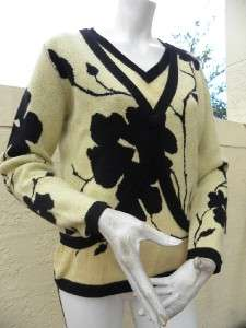 AMAZING YELLOW BLACK FLORAL 100% CASHMERE SHELL & CARDIGAN SET SZ 40