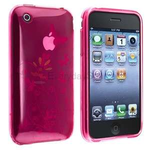 Clear Pink Flower Butterfly TPU silicone Soft Hard Case Cover for