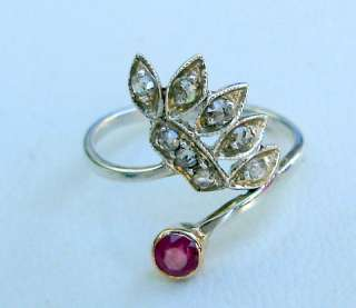 VICTORIAN DIAMOND RUBY 14 CT GOLD STERLING SILVER RING