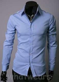 Mens Business Classic Design Cotton Dress Shirt 3 Colors Blue Z1220