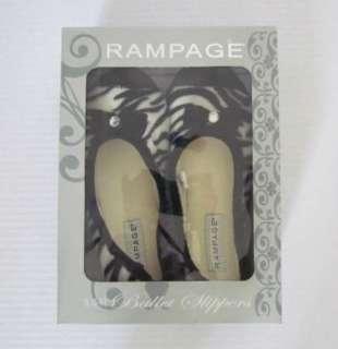 RAMPAGE New Black White Zebra Print Ballet Slippers Womens S (5 6