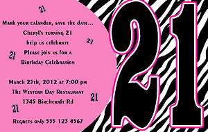 Zebra Print 21st or Any Occasion BIRTHDAY INVITATIONS