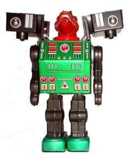 Metal House Battery Op Tin Toy Smoking Dino Robot Japan