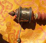 COPPER TURQUOISE/CORAL & WOOD OM MANTRA PRAYER WHEEL TIBETAN BUDDHIST