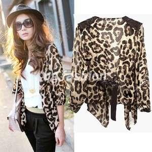 Sexy Womens Leopard Print Shirt Half sleeve Tops Chiffon Blouse Tee