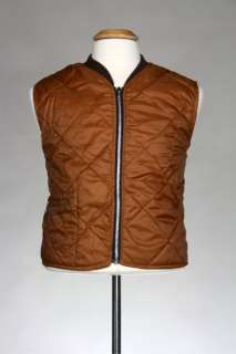 70s Brown Orange Reversible Hunting Vest Coat/Jacket Puffer XL
