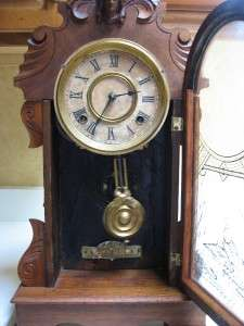 ANTIQUE 8 DAY ANSONIA EQUAL STRIKE SHELF MANTLE CLOCK