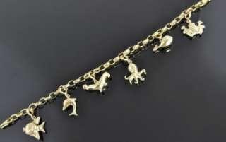 Itaor Italian 14K Yellow Rose Gold Sea Ocean Animal 3D Charm Chain