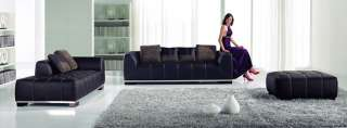 Modern black leather sofa & chaise free ottoman NEW
