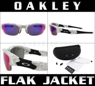 NEW OAKLEY FLAK JACKET White Text/Positive Red Iridium lens Asian Fit
