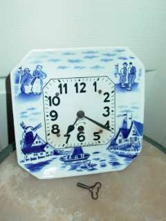 Vintage Porcelain White & Blue Newark 8 Day Clock Co