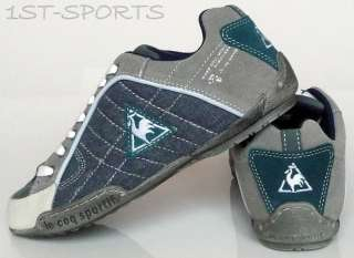 JUNIORS LE COQ SPORTIF SEDAN CANVAS LOW BLUE TRAINERS
