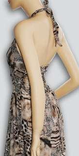 NEW Animal Print Halter Long Maxi Dress Summer Beach Dress S/M