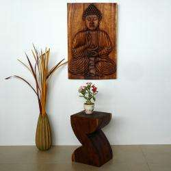 Oil Rubbed Buddha Chestnut Wood Sakyamuni Seated Carved Panel