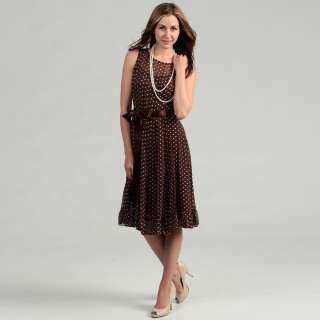 Jessica Howard Womens Brown Polka Dot Dress  Overstock