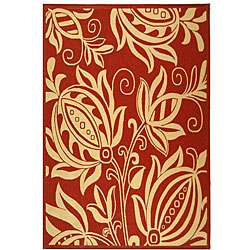 Indoor/ Outdoor Andros Red/ Natural Rug (67 x 96)