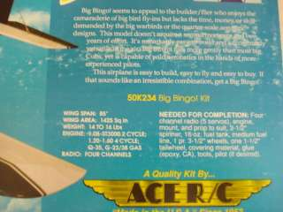 ACE BIG BINGO R/C MODEL AIRPLANE KI ** NEW IN BOX ** |