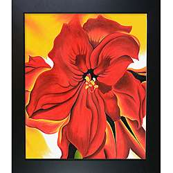 Keeffe Paintings Red Amaryllis w/ New Age Wood Black Finish Hand