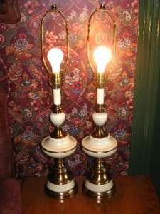 Vintage Hollywood Regency Brass Table Lamps 3 WAY