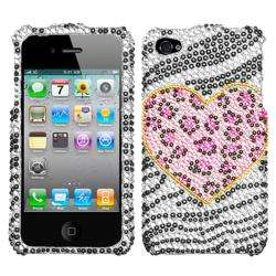 Apple iPhone 4 Zebra/ Leopard Heart Rhinestone Case