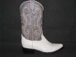 New Mens Embossed Ant Eater Leather Boots Winter white