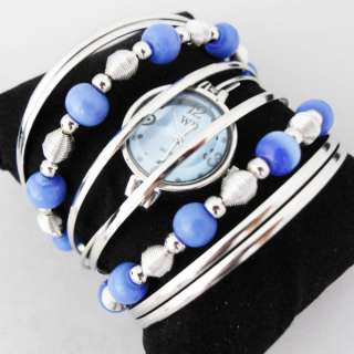 Fashion Ladies Girls Cuff Bangle Blue Jewelry Watch NEW
