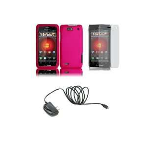 Motorola DROID 4 (Verizon) Premium Combo Pack   Hot Pink Hard Shield